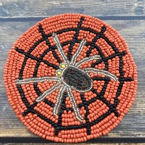 Spider Beaded Halloween Coaster Set New Orange Web